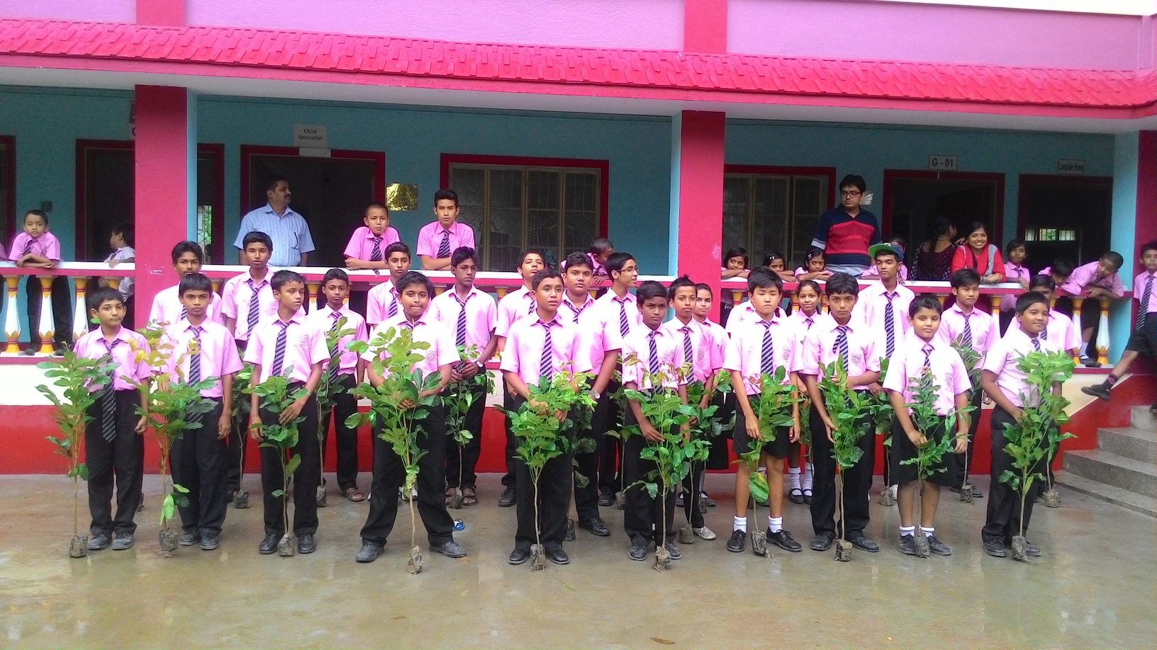 Students of Bodhisukha school helped a lot with planting saplings