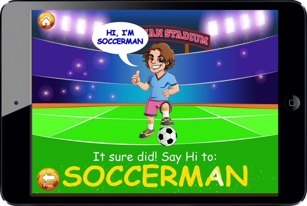 Soccerman has learning games